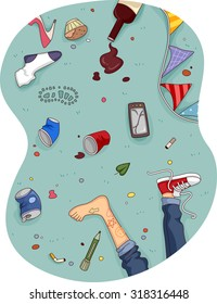 Illustration of a Messy Room After a Rowdy Party