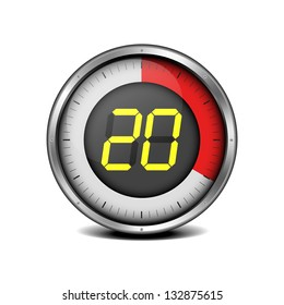 illustration of a metal framed timer with the number 20, eps10 vector