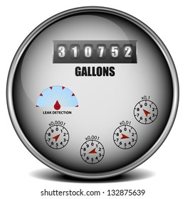 illustration of a metal framed watermeter with imperial units, eps10 vector