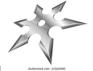 illustration of a metal ninja shuriken with perspective