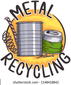 Illustration of Metal Recycling Icon with Tin Cans, Nail, Wire and Metal Scraps