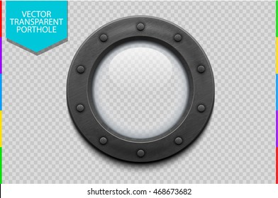 Illustration of a metal ship porthole with glass isolated on transparent background. Rivets mount