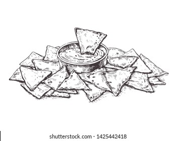 Illustration Mexican corn chips nachos with salsa dip.Sketch tortilla chips.Drawing for restaurant menu, label, banner