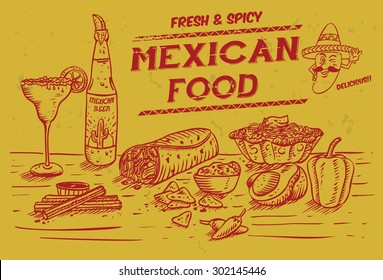Illustration of Mexican food and drinks, vector