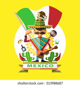 Illustration Of Mexican Man Mariachi Salute To Mexico Independence Day National Flag With Background Iconic Culture