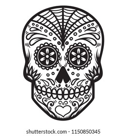 Illustration of mexican sugar skull. Day of the dead. Dia de los muertos. Design element for logo, label, emblem, sign, poster, t shirt. Vector illustration