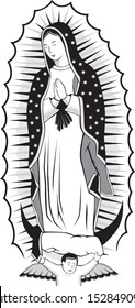 illustration of mexican virgin of guadalupe