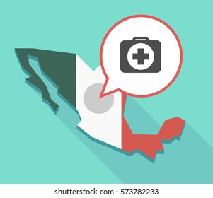 Illustration of a  Mexico map and a comic balloon with  a first aid kit icon