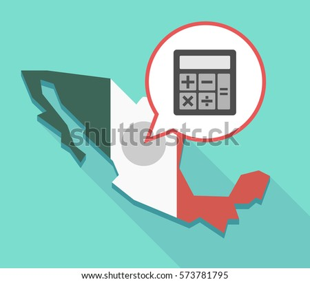 illustration mexico map comic balloon calculator stock vector