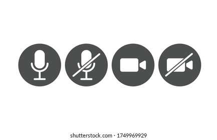 illustration of mic and video icon for mute, unmute, on and off. Symbol for communication mobile apps and web design button. line art