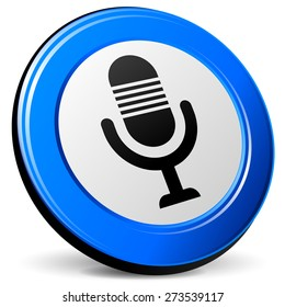 illustration of microphone 3d blue design icon