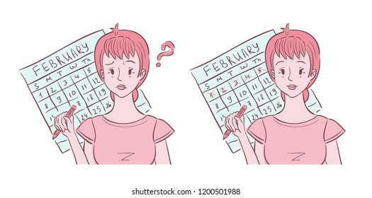 Illustration of middle aged woman shown confused about her irregular periods and happy with her regular periods
