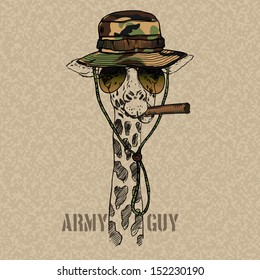 Illustration of Military Giraffe with Cigar Isolated Grunge Background
