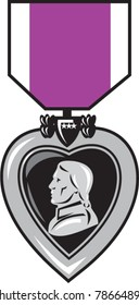 illustration of a military medal of bravery, honor and valor purple heart  showing a figure head king facing side