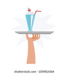 Illustration of Milkshake served on a silver Plate