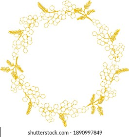 Illustration of mimosa wreath drawn with a pen