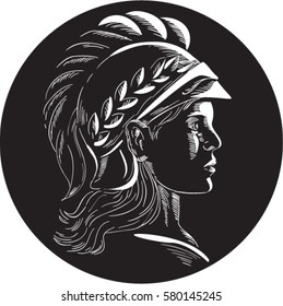 Illustration of Minerva or Menrva, the Roman goddess of wisdom and sponsor of arts, trade, and strategy wearing helmet and laurel crown viewed from side set inside oval shape in retro woodcut style.