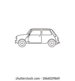 Illustration mini cooper classic car vintage old vehicle logo design vector line art outline