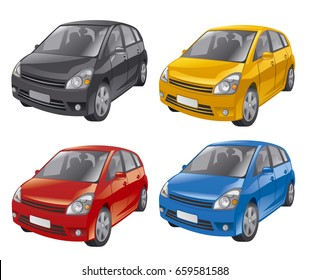 illustration of mini hatchback cars in different colors