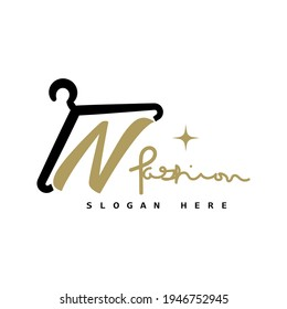 illustration of minimalist botique logo design . the elegant hanger icon initial capital letter N