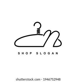 illustration of minimalist botique logo design . the elegant wire hanger icon initial capital letter N