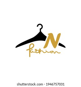illustration of minimalist botique logo design . the elegant silhouette hanger icon initial capital letter N
