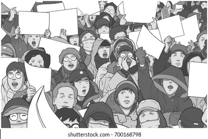 Illustration of mixed ethnic crowd protesting with blank signs
