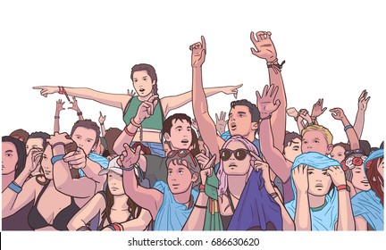 Illustration of mixed ethnic festival crowd partying in the rain in color