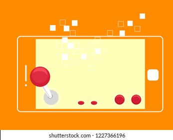 Illustration of a Mobile Phone with Arcade Game Joystick