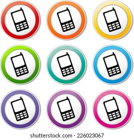 Illustration of mobile phone icons various colors set