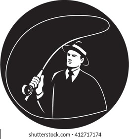 Illustration of a mobster gangster fly fisherman wearing suit, tie and hat fishing casting fly rod set inside circle on isolated background done in retro style.