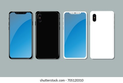 Illustration Mockup New Generation of Smartphone with round edges, blank screen, no Home Button and frameless curved Display 2 colors black and white  with dual camera and flash in Flat  design Vector
