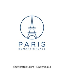 Illustration of modern abstract Paris Eiffel Tower sign.