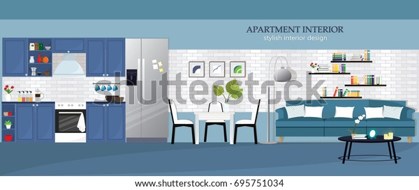 Illustration Modern Apartment Interior Design Kitchen Stock Vector Royalty Free 695751034