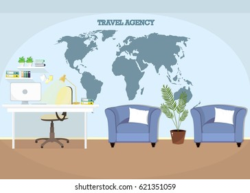 Illustration of modern colorful travel agency workplace with armchairs. Office interior design. Flat style