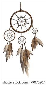 Illustration of modern dream catcher isolated on white background