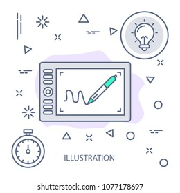 Illustration Modern flat color line vector icon