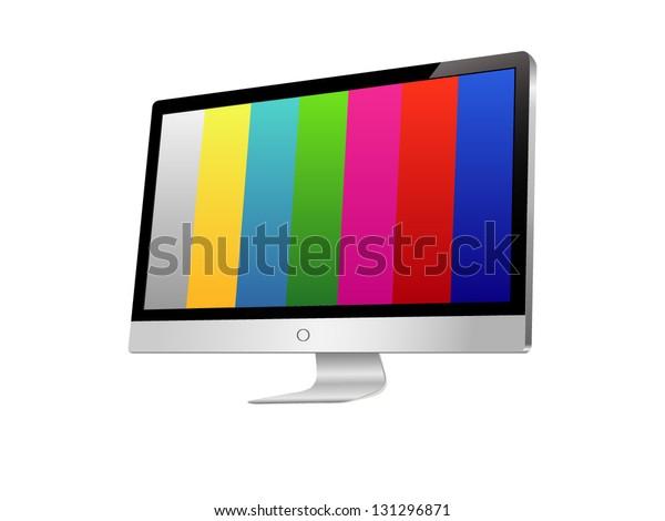 Illustration Modern Lcd Monitor Painting Test Stock Vector