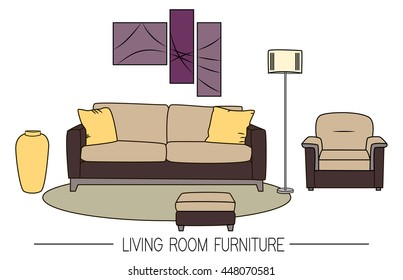 Illustration of modern living room with different furniture. Vector line template. Banner or flyer concept for furniture shop.