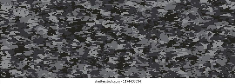 illustration of modern multi-scale black camouflage pattern in digital pixels
