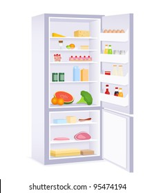illustration of a modern refrigerator with food