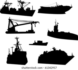 illustration with modern ships isolated on white background