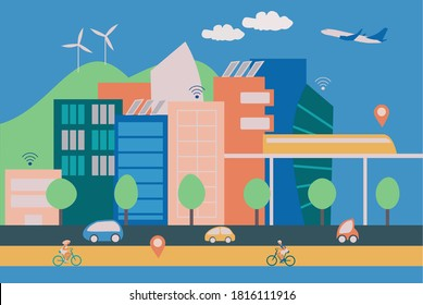 Illustration of a modern smart city with contemporary buildings, people on bycicles and eletric cars, internet wireless connection and green energy production.