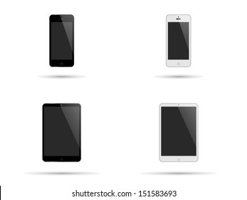 Illustration of modern smartphones and tablets with black and white surrounds and blank screens with copyspace isolated on white