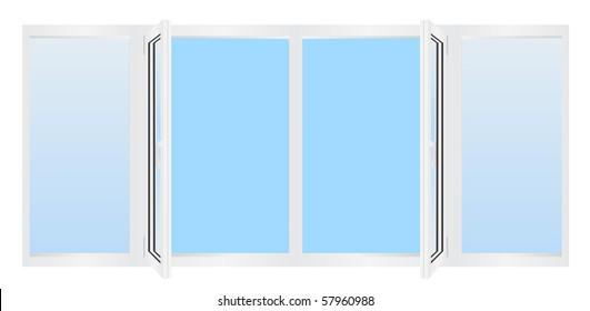 Illustration of modern white plastic window over white background