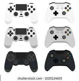 Illustration modern wireless game controller for PC and Console with 3 colors white grey black for mockup or website in flat design vector