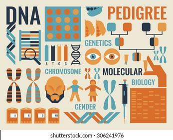Illustration of Molecular Biology infographic background concept