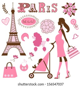 Illustration of mom to be in Paris