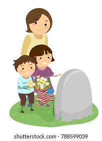 Illustration of a Mom with Her Kids Bringing Flowers Visiting a Grave with US Flag