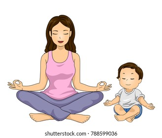 Illustration of a Mom with Her Son Doing Yoga. Lotus Pose